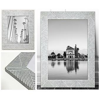 Modern Photo Frame White Grey Chevron Picture Poster Wide Wall Mounted Textured