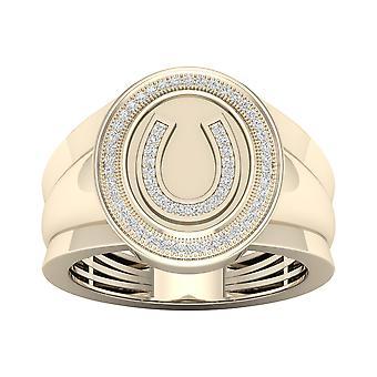 Igi gecertificeerd 10k geel goud 0.18ct tdw natuurlijke diamant hoefijzer mannen's ring