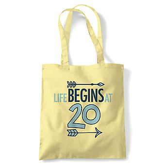 Life Begins At 20 Tote | Happy Birthday Celebration Party Getting Older | Reusable Shopping Cotton Canvas Long Handled Natural Shopper Eco-Friendly Fashion