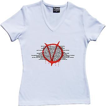 V For Vendetta V-Neck White Women's T-Shirt