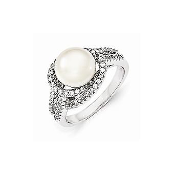 Cheryl M 925 Sterling Silver CZ Cubic Zirconia Simulated Diamond and Fw Cultured Pearl Ring Size 7 Jewelry Gifts for Wom