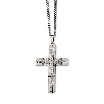 Stainless Steel Engravable Polished Laser Cut With Crystal Religious Faith Cross Necklace 24 Inch Jewelry Gifts for Wome