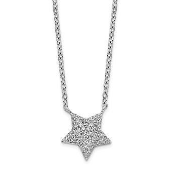 925 Sterling Silver Rhodium plated CZ Cubic Zirconia Simulated Diamond Star With 2inch Ext. Necklace 16 Inch Jewelry Gif