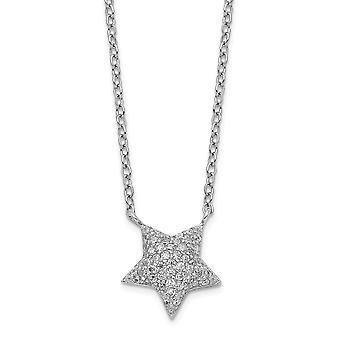 925 Sterling Silver Rhodium verguld CZ Cubic Zirconia Gesimuleerde Diamond Star Met 2inch Ext. Ketting 16 Inch Sieraden Gif