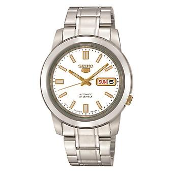 Seiko 5 Automatic White Dial Silver Stainless Steel Men's Watch SNKK07K1 RRP £169