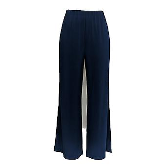 Bob Mackie Women's Petite Pants Wide Leg Knit Blue A13112