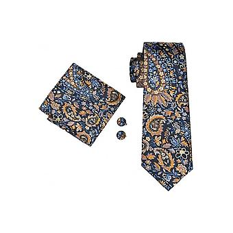 JSS Mens Blue And Orange Floral 100% Silk Pocket Square, Cufflink And Tie Set