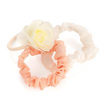 3pc Pink & Cream Elasticated Scrunchie and Flower Elastic Set