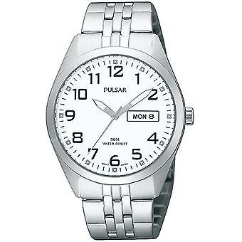 Pulsar Classic Quartz White Dial Zilveren Stalen Armband Men's Watch PV3005X1