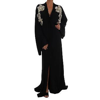 Dolce & Gabbana Zwarte Floral Lace Zijden Kristallen Jurk