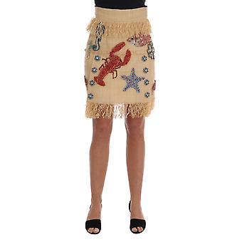 Dolce & Gabbana Crystal Beige Palm Fiber Skirt