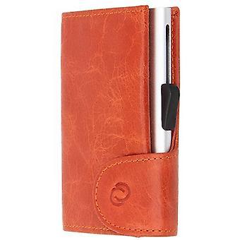 C-Secure Vintage Leather Single Card Holder Wallet - Rust Orange