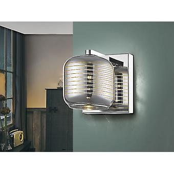 Schuller Vias - Wall lamp of 1 light made of metal, chrome finish. Shimmered glass shade with clear lines pattern. - 654168