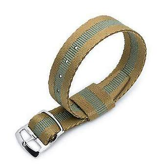 Strapcode n.a.t.o watch strap 20mm miltat raf n7 nato watch strap, sand and military green, polished ladder lock slider buckle