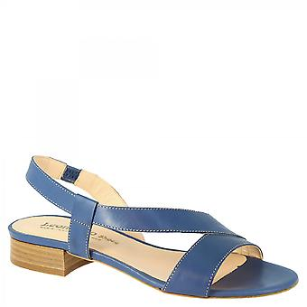 Leonardo Shoes Women-apos;s handmade low heels slingback sandales blue cobalt leather