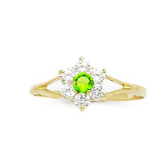 14k Yellow Gold Pale Green CZ Cubic Zirconia Simulated Diamond Size 5.5 Flower for boys or girls Ring