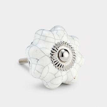 Ceramic Door Knob - White Crackled  - Flower