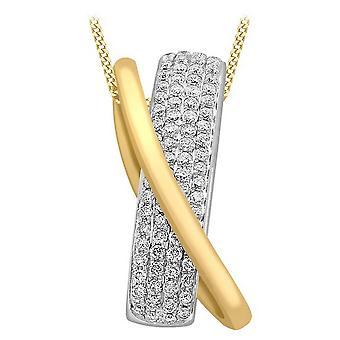 KJ Beckett diamante pavimentar Crossover conjunto colar - amarela ouro/prata