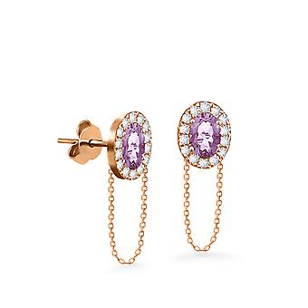 Earrings Princess Chain 18K Gold and Diamonds - Rose Gold, Amethyst