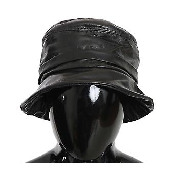 Dolce & Gabbana Black Goat Leather Bucket Cap Women Plain HAT70220-56
