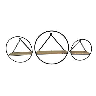 Set of 3 Round Metal and Wood Modern Farmhouse Wall Shelves