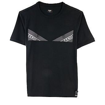 Fendi Logo Olhos Fita T Shirt Preta