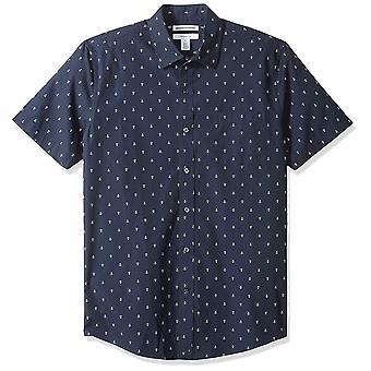 Essentials Men's Slim-Fit Short-Sleeve Print Shirt, Anchor, Medium