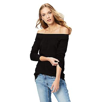 Daily Ritual Women's Terry Cotton and Modal Cold Shoulder Tunic, Black,Large