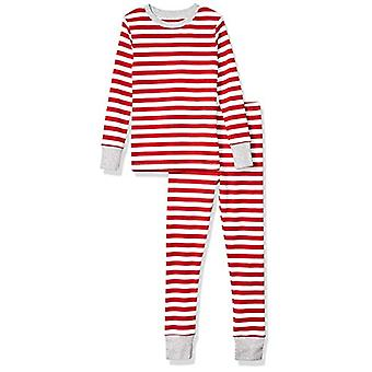 Essentials Kid's Long-Sleeve Tight-Fit 2-Piece Pajama Set, Red Even St...