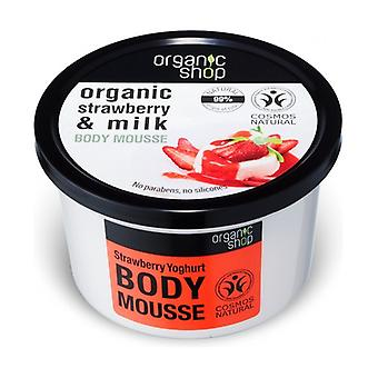 Moisturizing Body Cream-Mousse Organic Strawberry Yogurt (bdih) 250 ml of gel