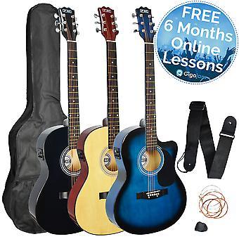 3rd avenue Cutaway Electro Akustisk Guitar Pack - fås i sort eller naturlig