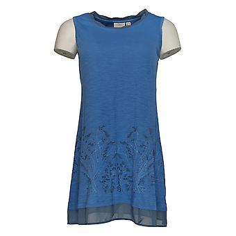 LOGO by Lori Goldstein Women's Top Slub Knit Tank Chiffon Blue A282972