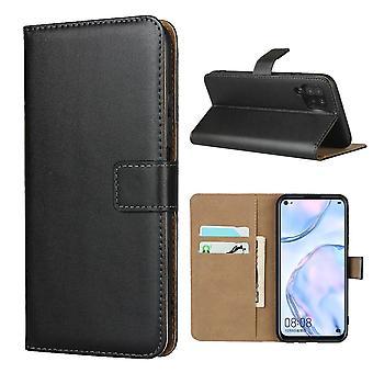Huawei P40 Lite Wallet Case / Lederen hoes - Zwart