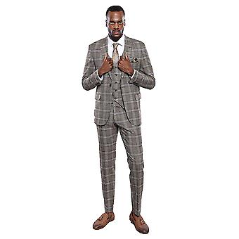 Plaid brown vested suit | wessi