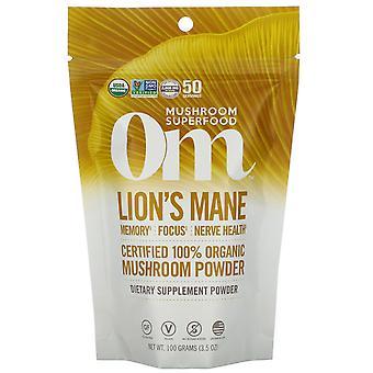 Om Mushrooms, Lion's Mane, Certified 100% Organic Mushroom Powder, 3.5 oz (100 g