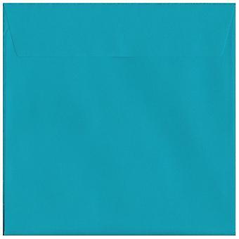 Peel/guarnizione blu caraibi 160mm quadrati colorati blu buste. Carta certificata FSC di lusso 120gsm. 160 mm x 160 mm. portafoglio stile busta.