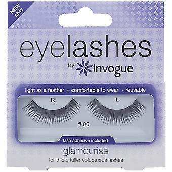 Invogue Glamourise False Synthetic Eyelashes - #6 - Reusable and Easy to Apply