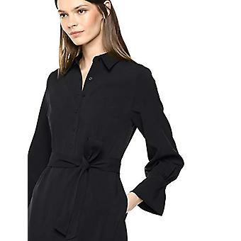 Brand - Lark & Ro Women's Long Sleeve Tie Waist Stretch Woven Shirt Dress, Black 2