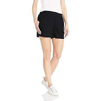 Brand - Daily Ritual Women's Linen Pull-On Short, Black, 12