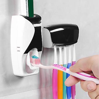 Automatic Toothpaste Dispenser And Wall Mounted Toothbrush Holder Set  Rack