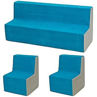 Skum møbler sæt lille barn udvidet blå & beige