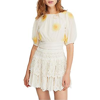 Free People | My Girl Embroidered Puff-Sleeve Top