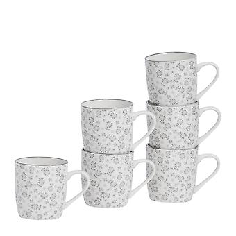 Nicola Spring 6 Piece Daisy Patterned Tea and Coffee Mug Set - Small Porcelain Cappuccino Cups - Grey - 280ml