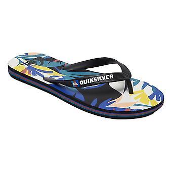 Quiksilver Molokai Tropical Flow Flip Flops - Black / White / Blue