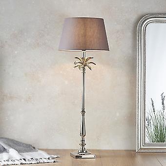 Endon Belysning Blad & Evie - Bordslampa polerad nickeltallrik & kolgrå bomull 1 ljus IP20 - E27