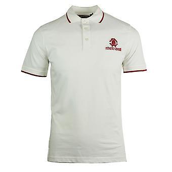 روبرتو كافالي العلامة التجارية كريست الأبيض قميص البولو