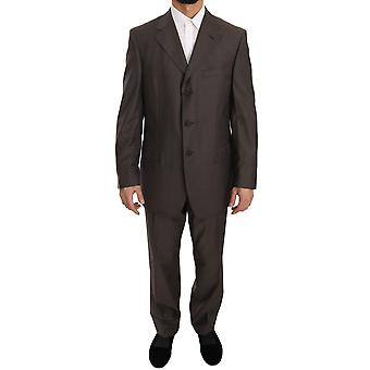 Z ZEGNA Brown Striped Two Piece 3 Button Wool Suit