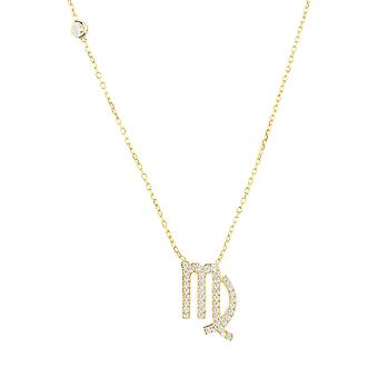 Zodiac Astrology Virgo Star Sign CZ Gemstone Gift Yellow Gold Pendant Necklace