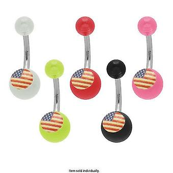American flag acrylic belly button ring 14g