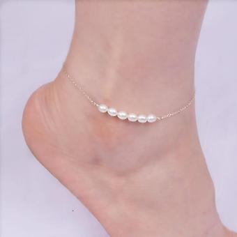 Real 925 Sterling Silver Anklets With Natural Freshwater